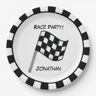 Black White Checkered Flag Race Party Name Paper Plate