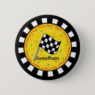 Black White Checkered Flag Round Name Badge Pinback Button