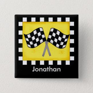 Black White Checkered Flag Yellow Name Badge Button