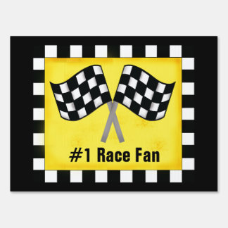 Black White Checkered Flag Yellow Race Fan Yard Sign