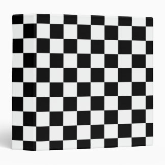 Black White Checkered Flags Pattern Binder