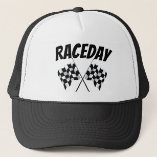 4f099038fe6cf Black   White Checkered Flags Raceday Trucker Hat