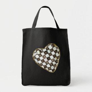 BLACK & WHITE CHECKERED HEART by SHARON SHARPE Tote Bag