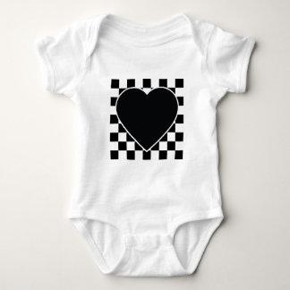 BLACK WHITE CHECKERED HEART LOVE PATTERN FEELINGS BABY BODYSUIT