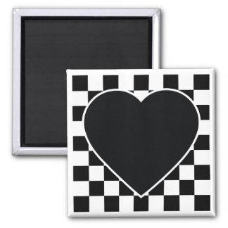 BLACK WHITE CHECKERED HEART LOVE PATTERN FEELINGS MAGNET