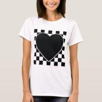 BLACK WHITE CHECKERED HEART LOVE PATTERN FEELINGS T-Shirt