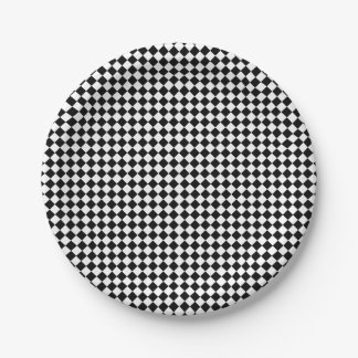 Black White Checkered Paper Plate  sc 1 th 225 & Black And White Checkered Racing Plates | Zazzle