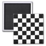 Black & White Checkered Pattern 2 Inch Square Magnet