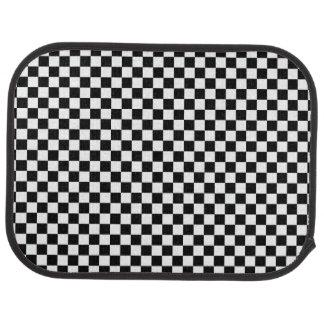 Black White Checkered Pattern Car Mat