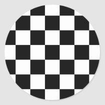 Black & White Checkered Pattern Classic Round Sticker