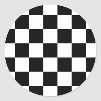 Black & White Checkered Pattern Classic Round Sticker