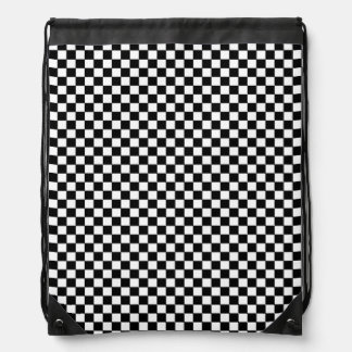 black & white checkered pattern drawstring backpack