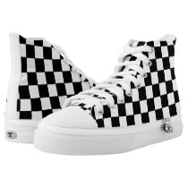 Black White Checkered Pattern High-Top Sneakers
