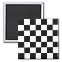 Black & White Checkered Pattern Magnet
