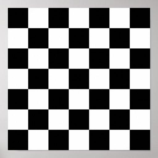 Black white checkered pattern poster zazzle - Cuadro blanco y negro ...