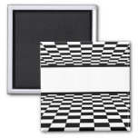 Black & White Checkered Perspective Refrigerator Magnets
