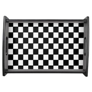 Black White Checkered - Serving Tray