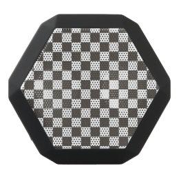 Black White Checkered Squares Black Bluetooth Speaker