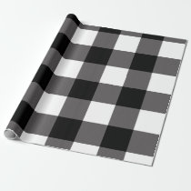 Black & White Checkered Squares Buffalo Plaid Wrapping Paper