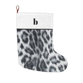 Black White Cheetah Leopard Monogram Christmas Large Christmas Stocking