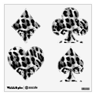 Black & White Cheetah Playing Card Suit Wall Decal
