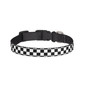 Black White Chess Checkerboard Pattern Pet Collar