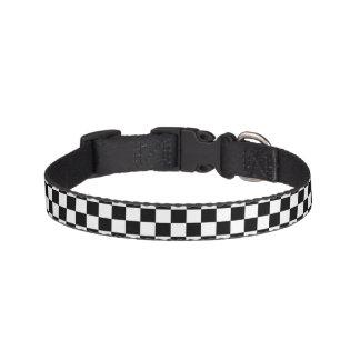 Black White Chess Checkerboard Pattern Pet Collar