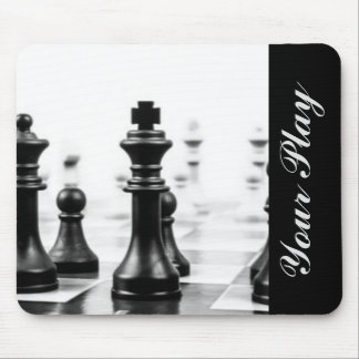 Black White Chess Typography Mouse Pad