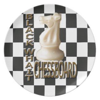 Black White Chessboard Plates