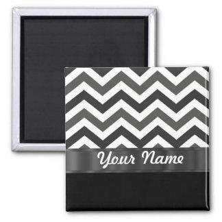 Black & white chevron 2 inch square magnet