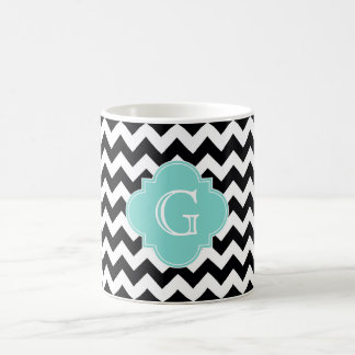 Black White Chevron Aqua Quatrefoil Monogram Classic White Coffee Mug