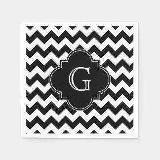 Black White Chevron Black Quatrefoil Monogram Paper Napkins