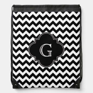 Black White Chevron Black Quatrefoil Monogram Drawstring Bags