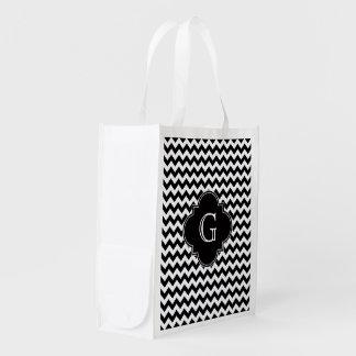 Black White Chevron Black Quatrefoil Monogram Reusable Grocery Bag