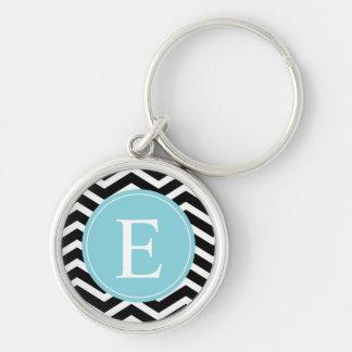 Black White Chevron Blue Monogram Keychain