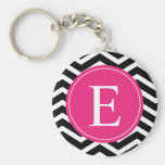 Black White Chevron Bright Pink Monogram Basic Round Button Keychain