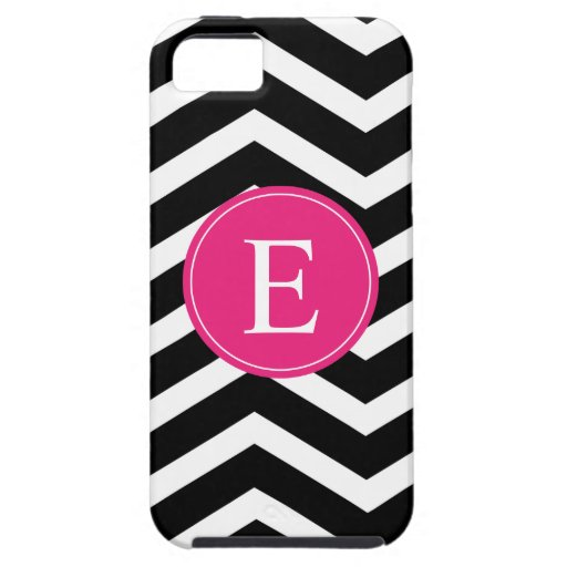Black White Chevron Bright Pink Monogram iPhone 5 Covers