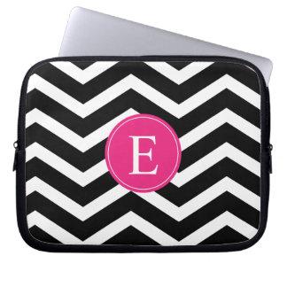 Black White Chevron Bright Pink Monogram Computer Sleeve