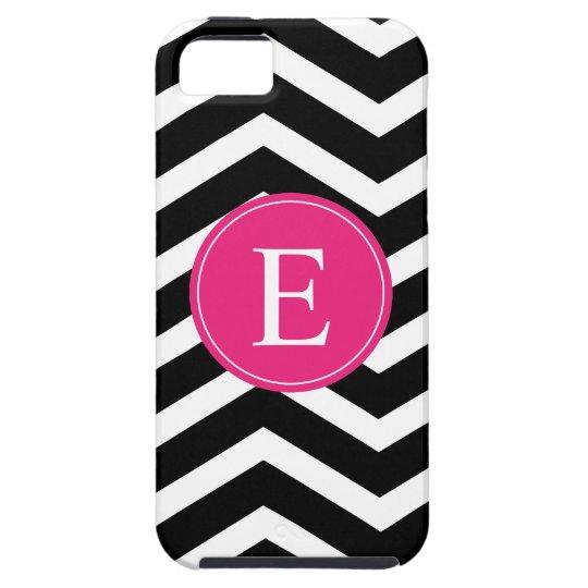 Black White Chevron Bright Pink Monogram iPhone SE/5/5s Case