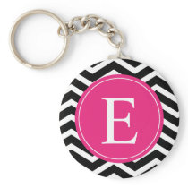 Black White Chevron Bright Pink Monogram Keychain