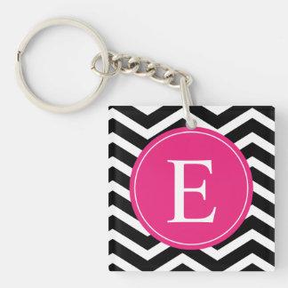 Black White Chevron Bright Pink Monogram Keychain