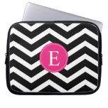Black White Chevron Bright Pink Monogram Laptop Sleeves