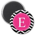 Black White Chevron Bright Pink Monogram 2 Inch Round Magnet