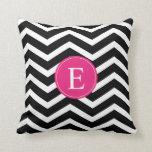 Black White Chevron Bright Pink Monogram Pillows