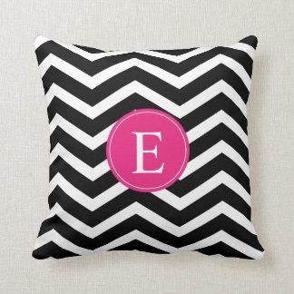 Black White Chevron Bright Pink Monogram Throw Pillow
