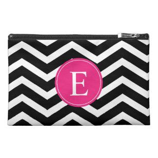 Black White Chevron Bright Pink Monogram Travel Accessories Bag