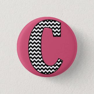 """Black & White Chevron """"C"""" Monogram Round Button"""