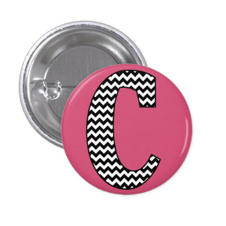 "Black & White Chevron ""C"" Monogram Round Button"