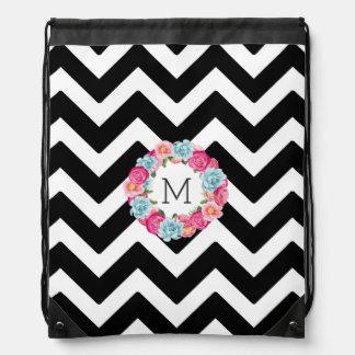 Black & White Chevron Colorful Floral Wreath Drawstring Bag