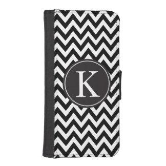 Black White Chevron Custom Monogram Wallet Phone Case For iPhone SE/5/5s